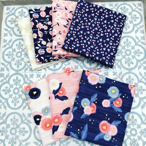 Riley Blake Midnight Rose Fat Quarter Bundle x 7 Pieces