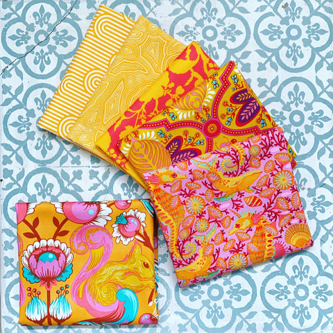 Tula Pink Orange Fat Quarters x 6