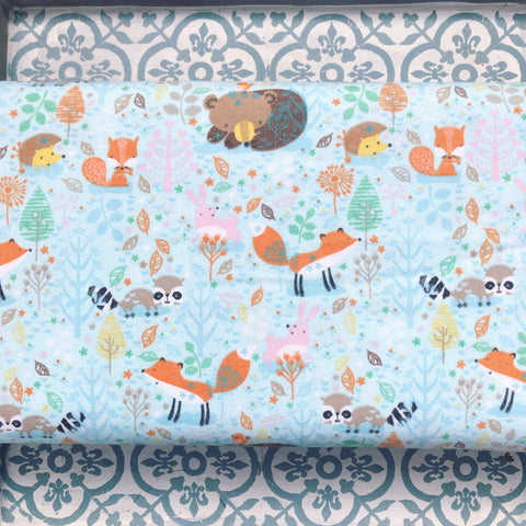 A.E. Nathan Comfy FLANNEL Mint Forest Animals
