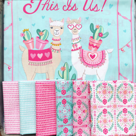 Moda Llama Love Fat Quarter Bundle x 6FQ's + 1 Panel