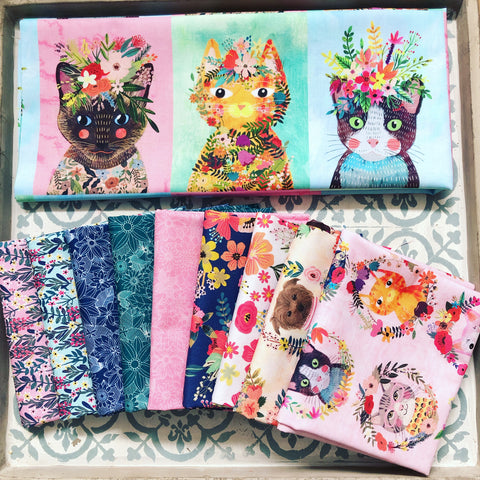Blend Mia Charro Floral Pets Series Fat Quarter Bundles x 9 Pieces +1 Panel Design of choice