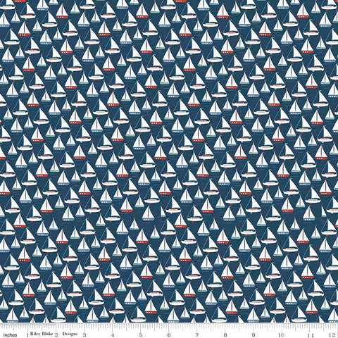 Riley Blake By The Sea Sail Boats in Navy