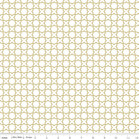 Riley Blake Wonderland Metallic Gold Labyrinth