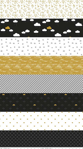 Riley Blake When Skies are Grey Stripe Metallic Black