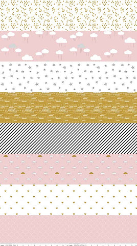 Riley Blake When Skies are Grey Stripe Metallic Pink