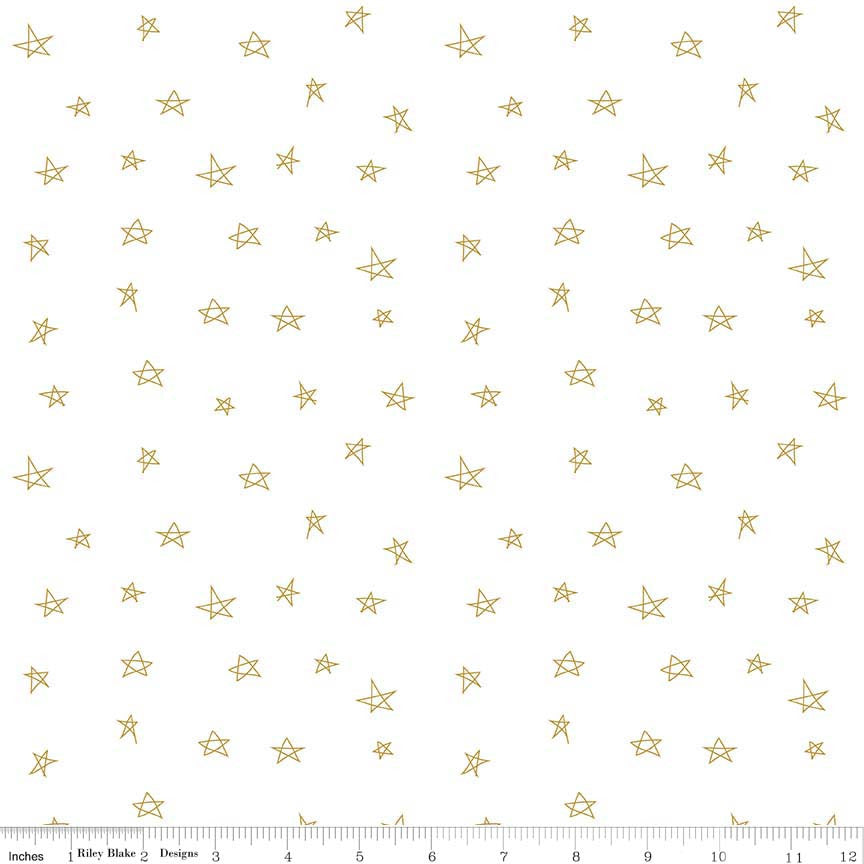 Riley Blake When Skies are Grey Stars Gold Metallic