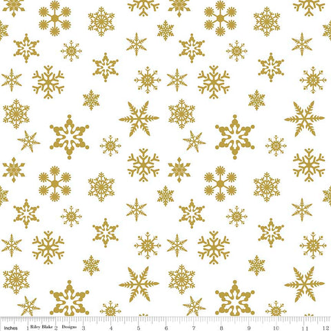 Riley Blake Sparkle Cotton Snowflakes Gold