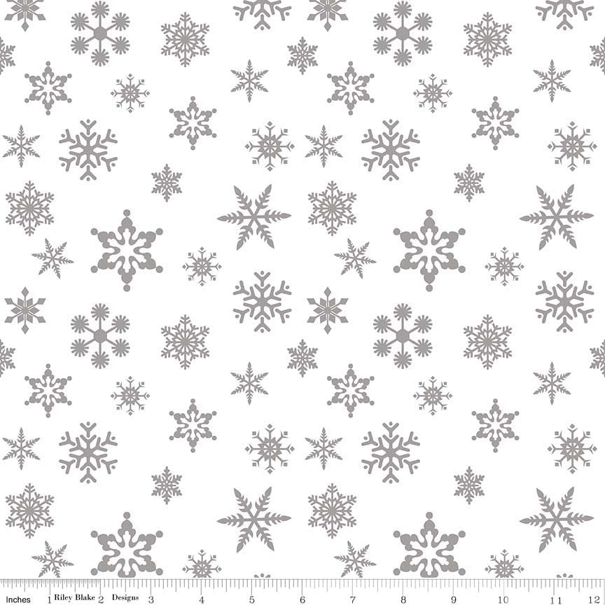 Riley Blake Sparkle Cotton Snowflakes Silver