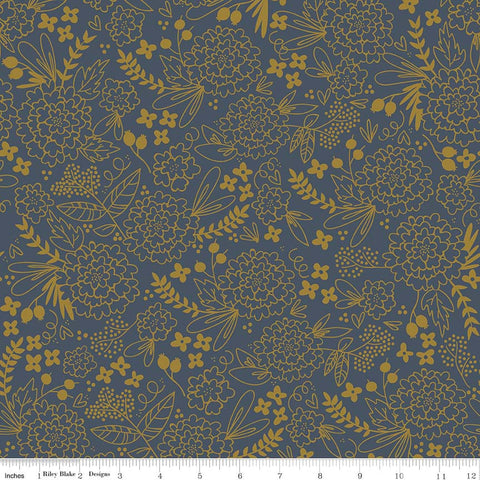 Riley Blake On Trend Metallic Floral Navy