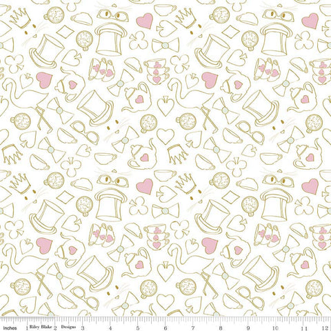 Riley Blake Wonderland 2 Tea party White Metallic