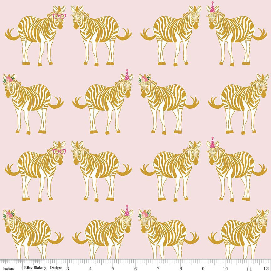 Riley Blake Safari Party Main in Pink Metallic