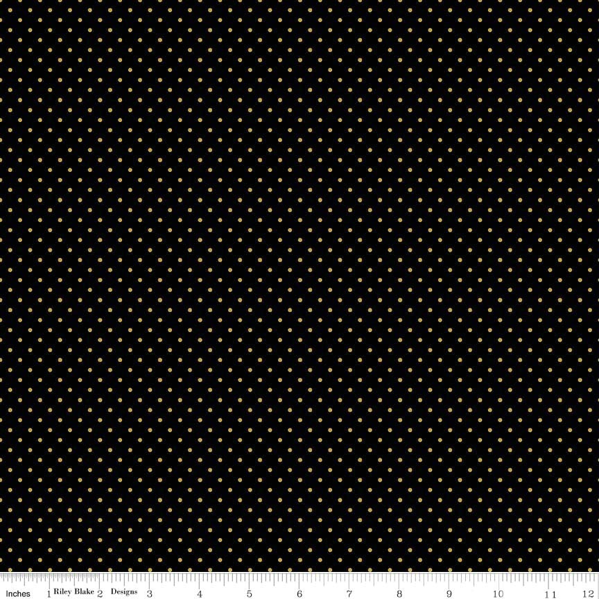 Riley Blake Metallic Prints Swiss Dots Gold on Black
