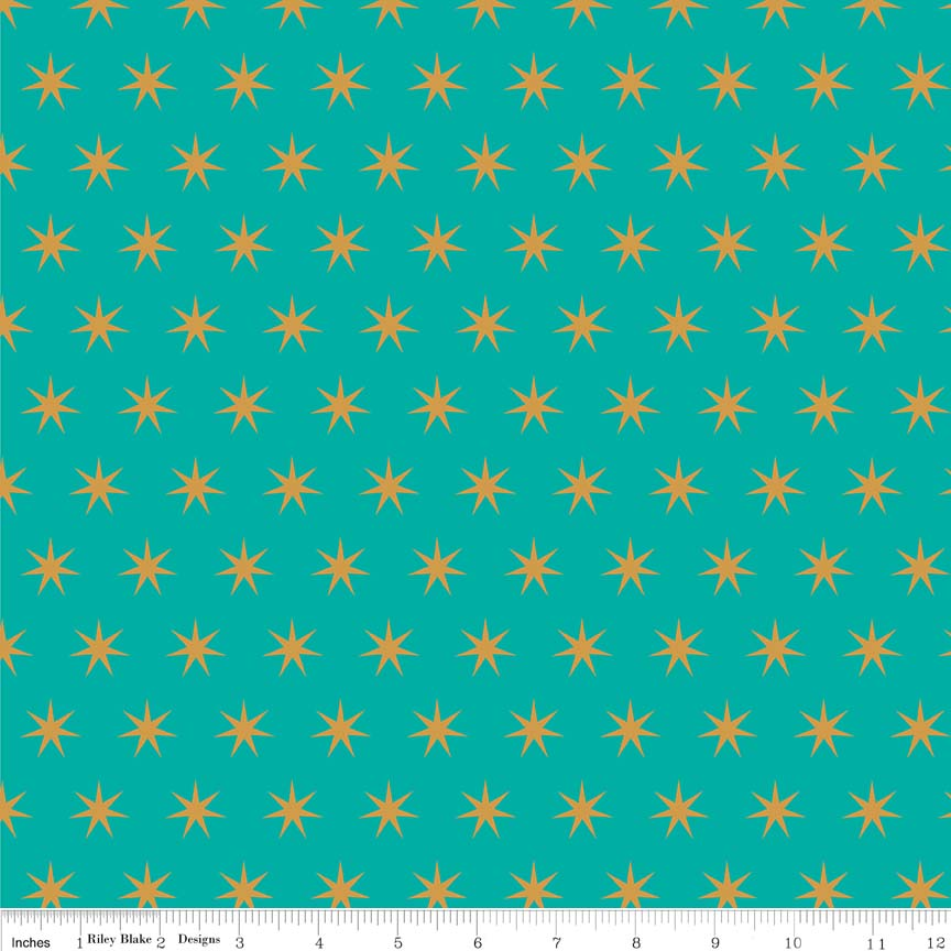 Riley Blake Just Sayin' Stars Teal Metallic