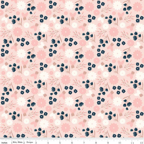 Riley Blake Blush Floral Pink Metallic