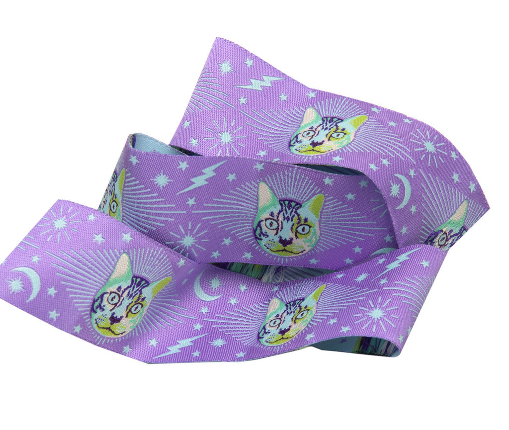 {Pre-Order May/June} Tula Pink Curiouser & Curiouser Renaissance Ribbon Cheshire Cat on Purple-1 1/2""
