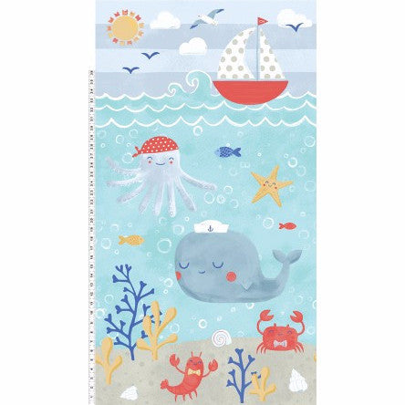 Clothworks Sail Away Aqua Border Print 60cm Increments