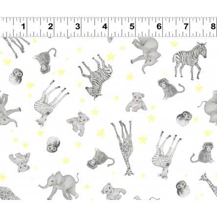 Clothworks Baby Safari Scattered Animals White