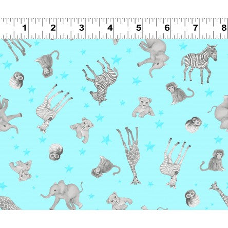 Clothworks Baby Safari Scattered Animals Aqua