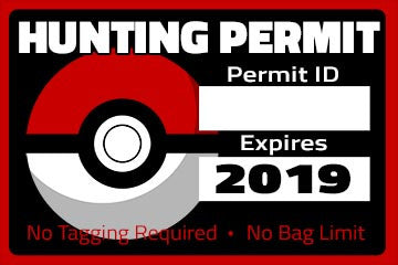 Pokemon Hunting Permit Sticker