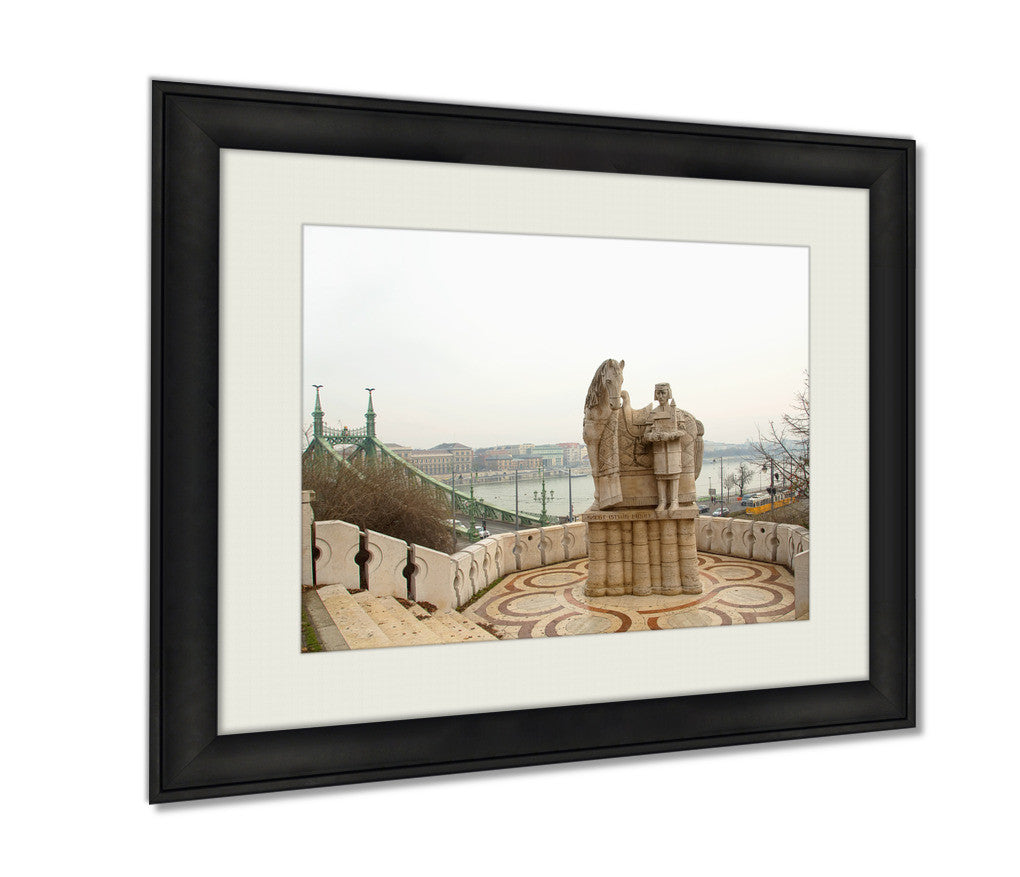 Framed Print, Monument Of The First Hungarian King Ishtvan Budapest Hungary The Observation