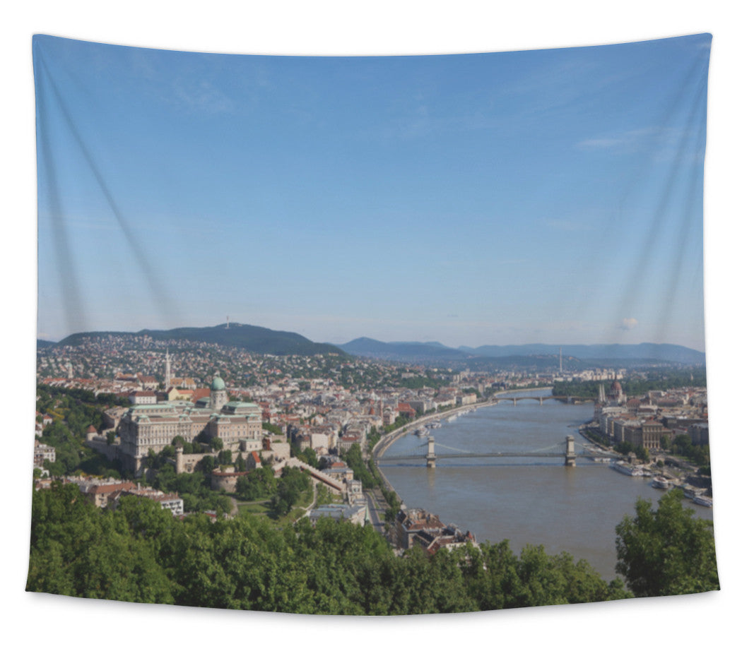 Wall Tapestry, Budapest City View With Castle Hill Chain Bridge And Margret Bridge Over Danube