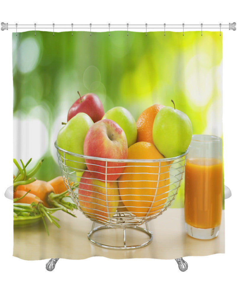 Shower Curtain Healthy Food Organic Fruits And Vegetables