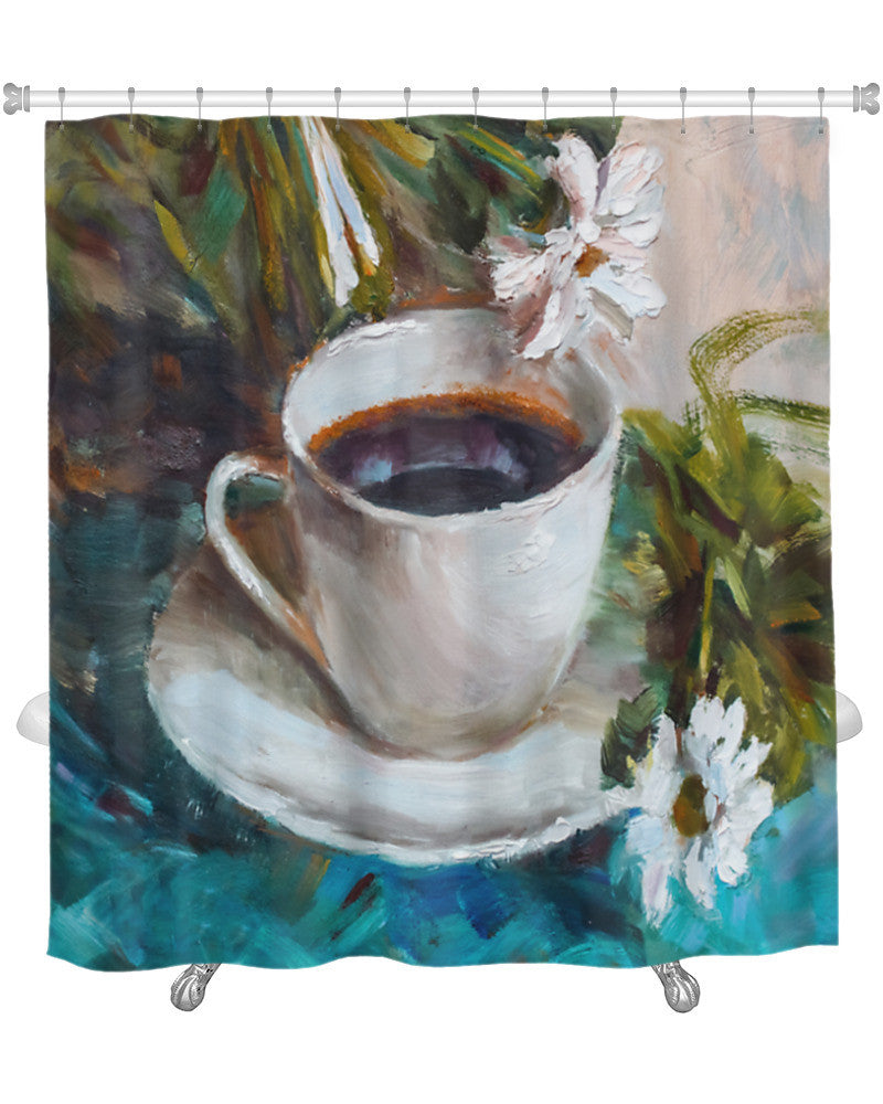Shower Curtain Painting Oil Still Life A Cup Of Coffee Drink Impressionism Art