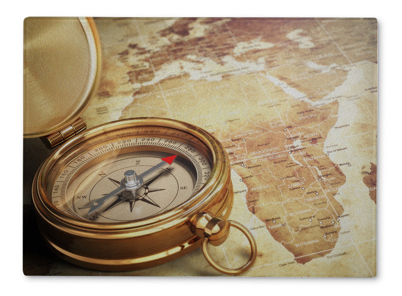 Cutting Board, Vintage Compass On The Old World Map With Dof Effect Travel  Concept 3d