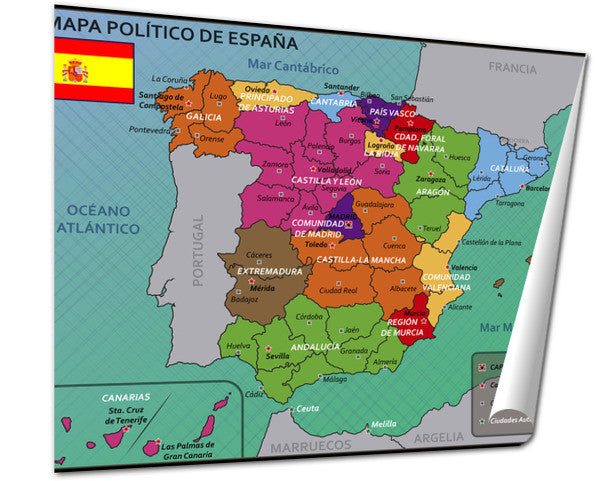 Map Of Spain Political.Giclee Print Political Map Of Spain With Flag And Badge