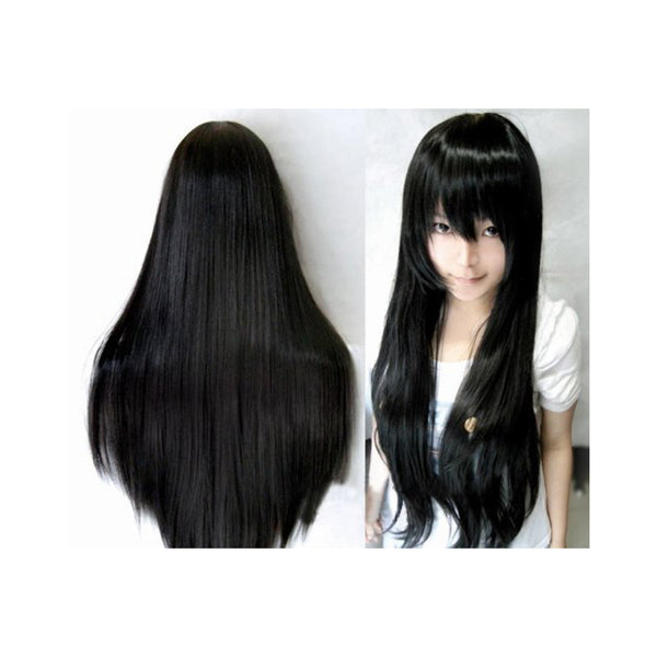 A popular black straight cosplay wig 80cm long now