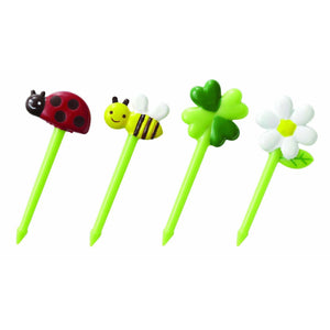 CuteZCute Bento Food Pick 8-Piece Honey Bee Flowers