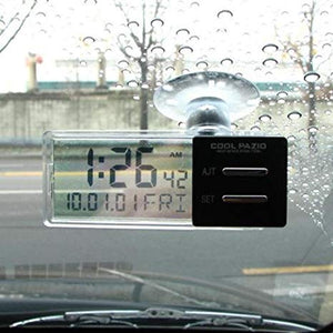 YAC PZ-372 Compact See Through Simple Clear Digital Clocks / Car Sedan Jeep Truck SUV Dash & Window Glass Mounts