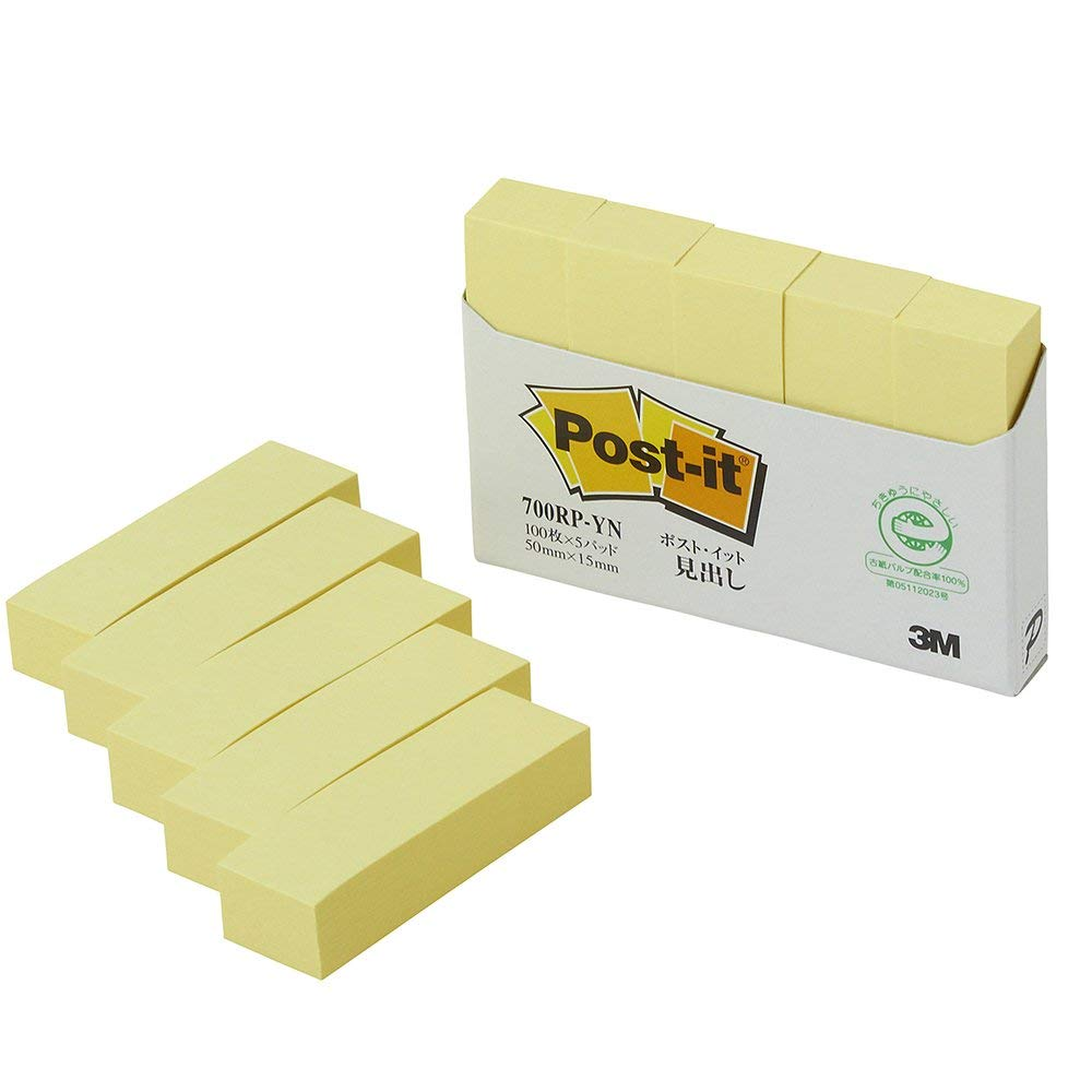 5 pad 700RP-YN 100 pieces of Sumitomo (3M) Post-it (R) heading 50mm 15mm yellow