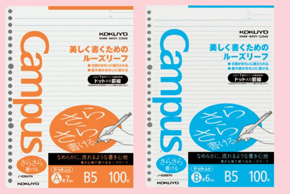 Kokuyo Campus Loose Leaf Paper for Binders - B5- 6 mm Rule - 36 Lines X 100 Sheets - 26 Holes