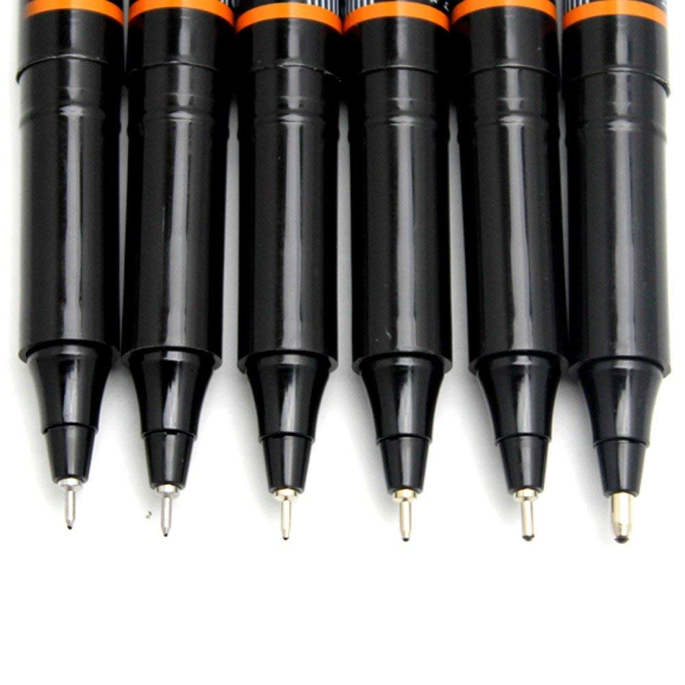 Ohto Graphic Liner Needle Point Drawing Pen - Pigment Ink - Pack of 6