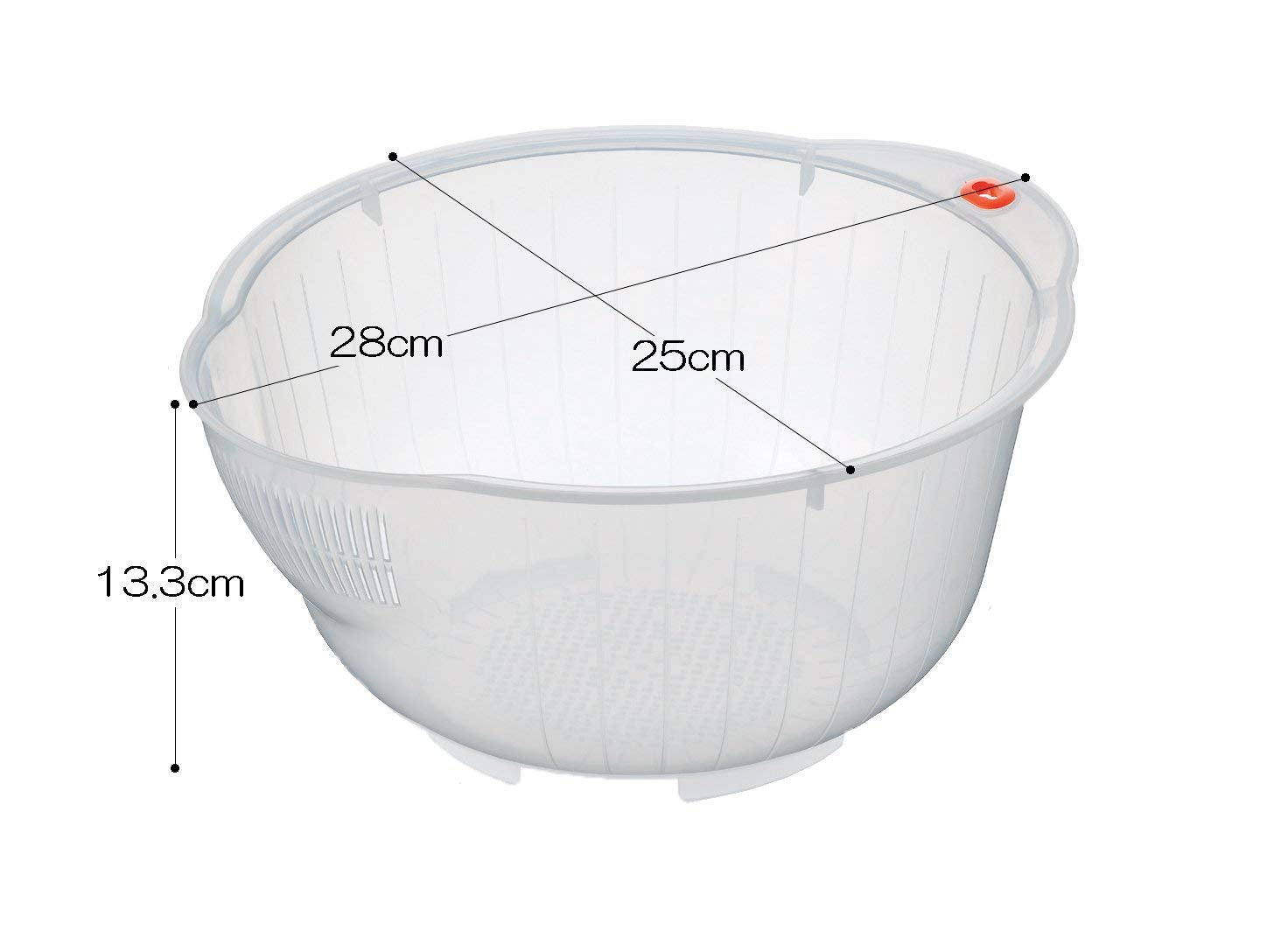 Inomata Japanese Rice Washing Bowl with Side and Bottom Drainers White