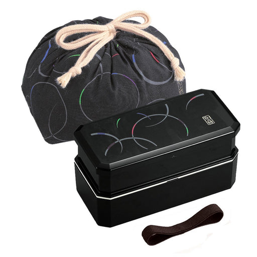 Cool Japanese Bento Lunch Box with Belt,  Bag Chopsticks - Waon Black