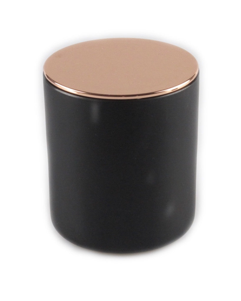 Glamour Matte black Soy Candle Rose gold lid