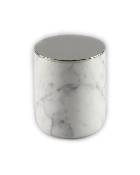 Carrara Marble Large Candle SIlver lid