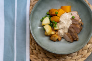 Roast Beef with Creamy Garlic & Herb Sauce