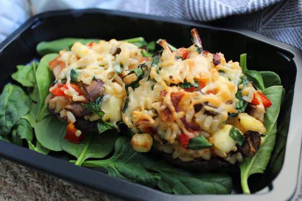 Brown Rice Risotto Stuffed Mushrooms