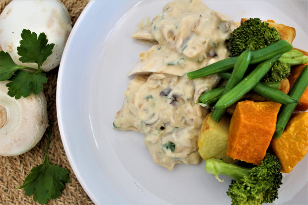 Roast Chicken with Creamy Parsley & Garlic Sauce