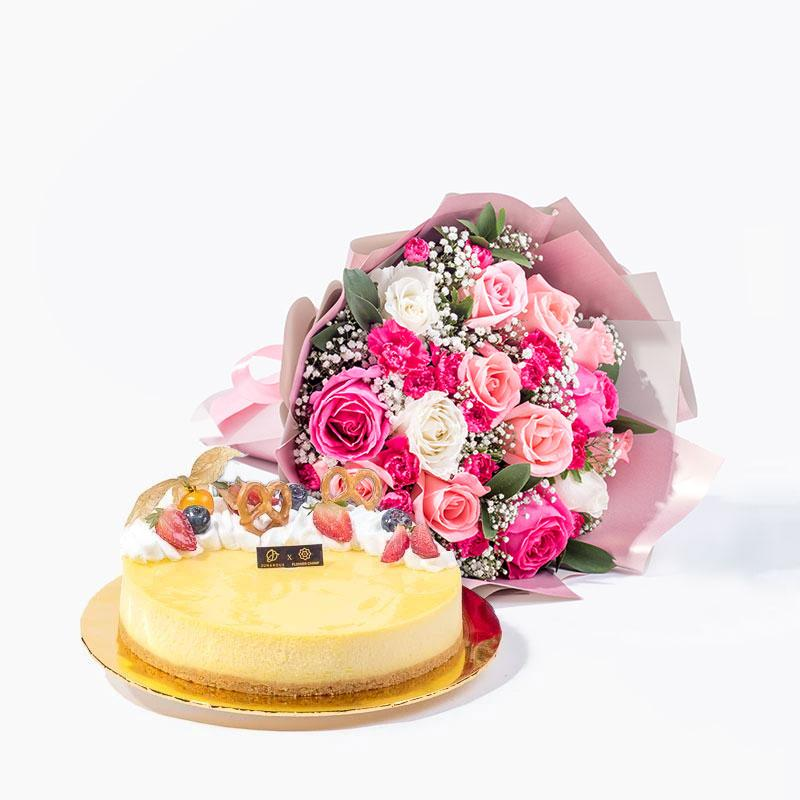 bundle_bouquet_cake Just For You + New York Cheesecake