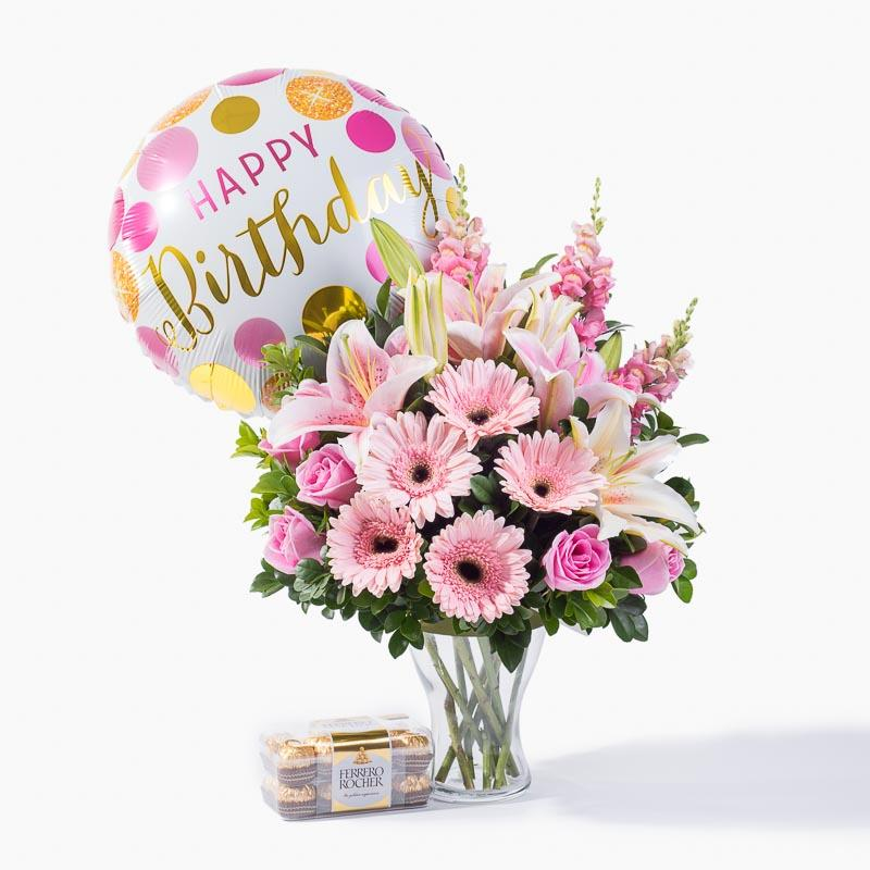 bundle_bouquet_ferrero_balloon Pink Delight Birthday Bundle