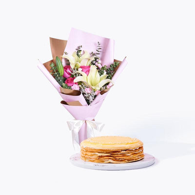 bundle_bouquet_cake Pink Moment + Durian Crepe Cake