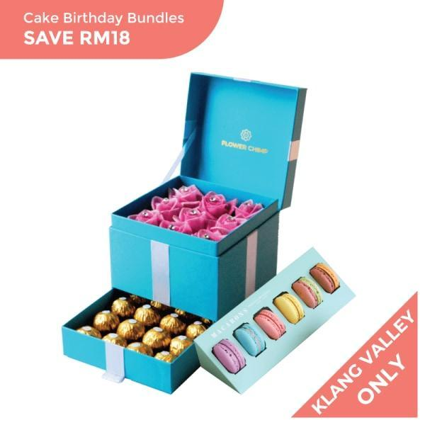 flowers_box_cake_bundle Trinity Box - Blushing Beauty + Macaron