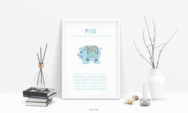 chinese zodiac pig print poster home decor animal 2020