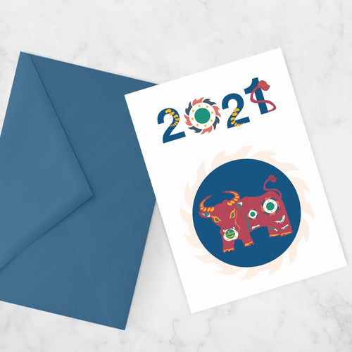 The year of the OX greeting card :: 2021