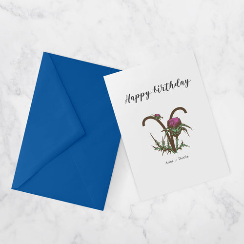BIRTHDAY CARDS |  ZODIAC FLOWERS | Aries :: Thistle