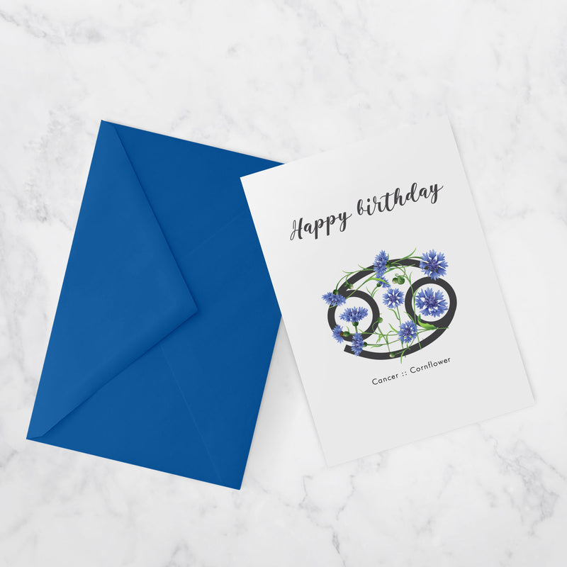 BIRTHDAY CARDS |  ZODIAC FLOWERS | Cancer :: Cornflower